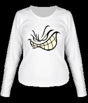 Женская футболка с длинным рукавом Агрессивный смайл glow