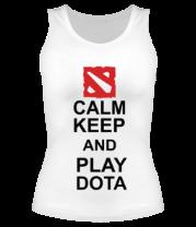 Женская майка борцовка Keep calm and play dota
