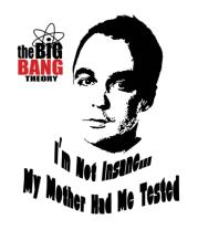 Мужская футболка  The Big Bang Theory. Я не сумасшедший - моя мама меня тестировала