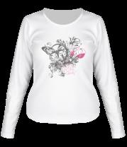 Женская футболка с длинным рукавом Бабочка и цветы