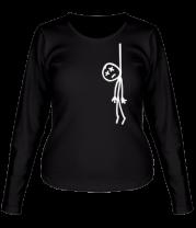 Женская футболка с длинным рукавом Человечек повесился