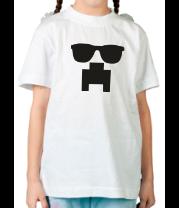 Детская футболка  Minecraft logo в очках