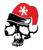 Женская футболка с длинным рукавом Череп в новогодней шапочке