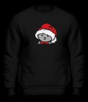 Толстовка без капюшона Мишка в новогодней шапочке