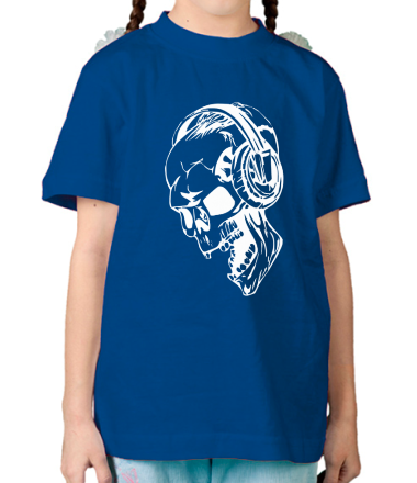 Детская футболка  Череп в наушниках