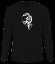 Мужская футболка с длинным рукавом Череп в наушниках