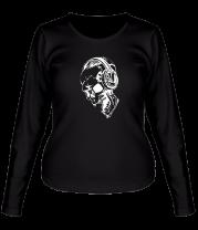 Женская футболка с длинным рукавом Череп в наушниках