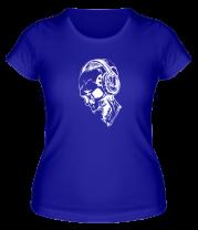 Женская футболка  Череп в наушниках