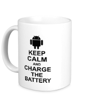 Кружка Keep calm and charge the battery (android)