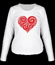 Женская футболка с длинным рукавом Сердце узор