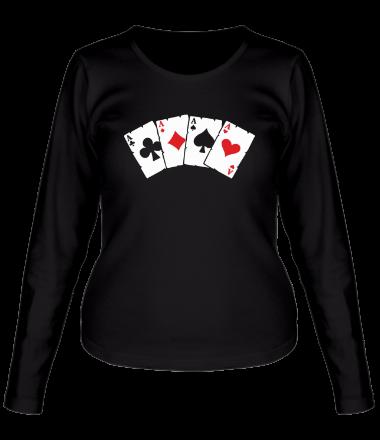 Женская футболка с длинным рукавом Четыре туза