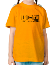 Детская футболка  Eat Sleep Fishing