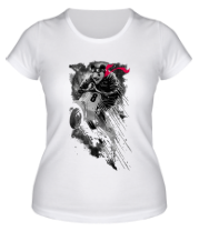Женская футболка  Медведик на мопедике
