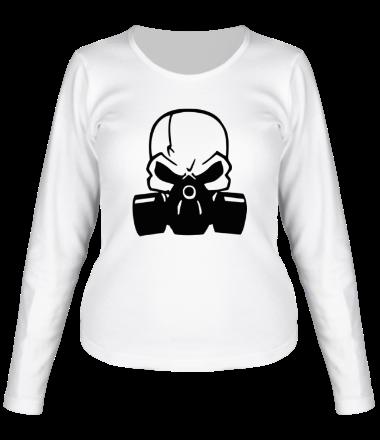 Женская футболка с длинным рукавом Череп в противогазе