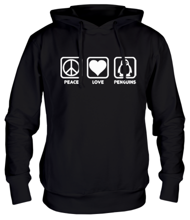 Толстовка Peace love penguins