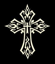 Женская майка борцовка Готический крест в тату стиле (свет)