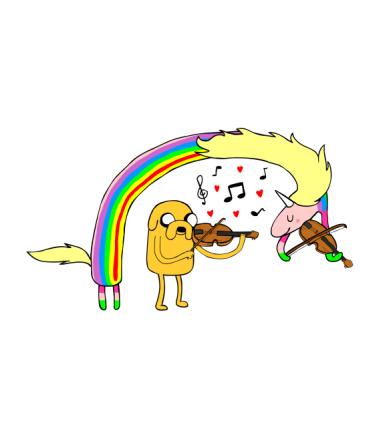 Детская футболка  Lady Rainicorn and Jake