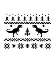 Мужская футболка с длинным рукавом Зимний узор с динозаврами