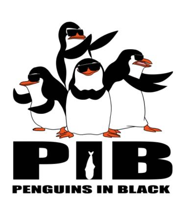 Женская футболка с длинным рукавом PIB   Penguins in black