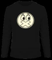 Мужская футболка с длинным рукавом Смайл с заклеенным ртом (свет)