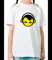 Детская футболка  Смайл - парень в наушниках