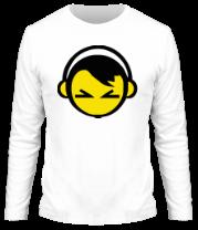 Мужская футболка с длинным рукавом Смайл - парень в наушниках