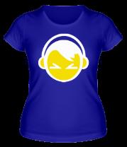 Женская футболка  Смайл - парень в наушниках