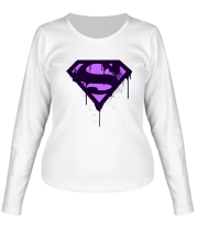 Женская футболка с длинным рукавом Superman Purple Splatter Logo