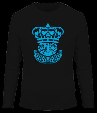 Мужская футболка с длинным рукавом Кот и корона