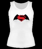 Женская майка борцовка Batman vs superman (logo)
