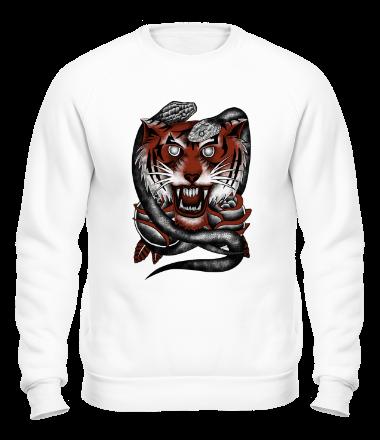Толстовка без капюшона Тигр и змеи