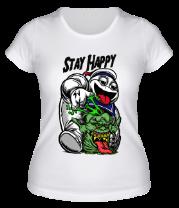 Женская футболка  Stay Happy