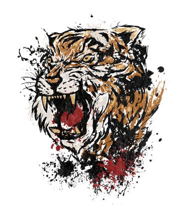 Толстовка без капюшона Тигр в брызгках