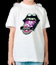 Детская футболка  Скейт на языке