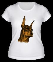 Женская футболка  Доберман охранник