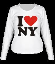 Женская футболка с длинным рукавом I love NY