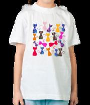 Детская футболка  Цветные кошки