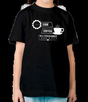 Детская футболка  Programmer : coffee and code.