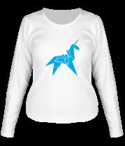 Женская футболка с длинным рукавом Оригами Единорог
