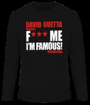 Мужская футболка с длинным рукавом David Guetta Fuck me I'm Famous