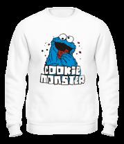 Толстовка без капюшона Cookie monster ест печеньку