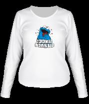 Женская футболка с длинным рукавом Cookie monster ест печеньку