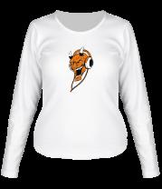 Женская футболка с длинным рукавом Зло в наушниках