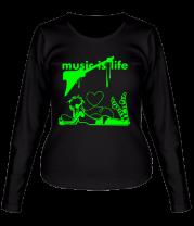 Женская футболка с длинным рукавом Music is life