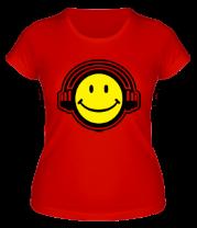 Женская футболка  Смайл в наушниках