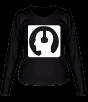 Женская футболка с длинным рукавом Чел в наушниках