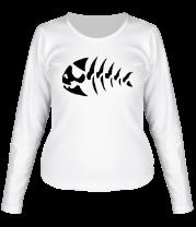 Женская футболка с длинным рукавом Скелет рыбы
