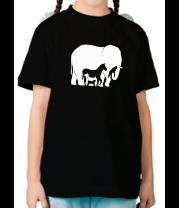 Детская футболка  Слон-лошадь