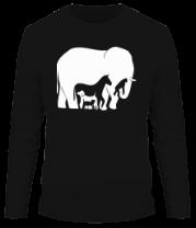 Мужская футболка с длинным рукавом Слон-лошадь