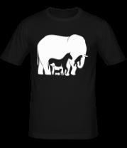 Мужская футболка  Слон-лошадь
